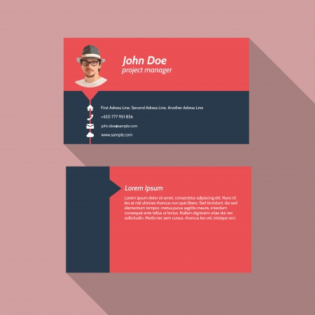 Modern simple light business card template - Flat Design - Vector Illustration Vector