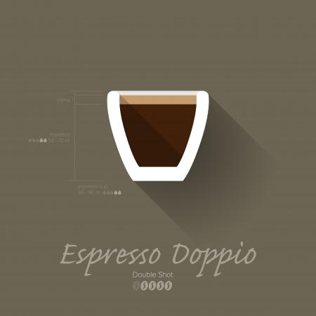 マニュアル: シンプル モダンなエスプレッソ Doppio マニュアル - フラットなデザインの壁紙ベクトル イラスト