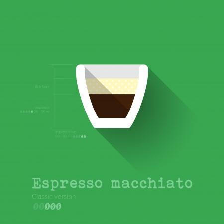 Simple Modern Espresso Macchiato Manual Wallpaper - Flat Design - Vector Illustration Stock Vector - 24393910