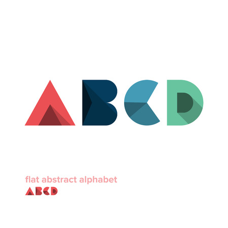d: Modern Simple Abstract Colorful Alphabet - Flat Design - Vector Illustration - Web Design - Advertising Element Illustration