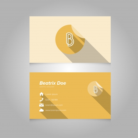 letter b: Simple Business Card Template with Alphabet Letter B - Flat Design - Vector Illustration - Editable Template