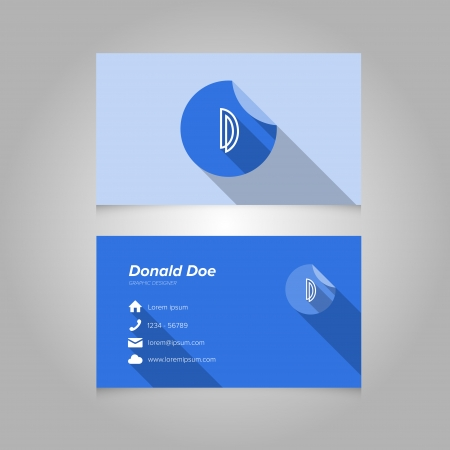 letter d: Simple Business Card Template with Alphabet Letter D - Flat Design - Vector Illustration - Editable Template Illustration