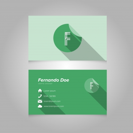 letter f: Simple Business Card Template with Alphabet Letter F - Flat Design - Vector Illustration - Editable Template Illustration