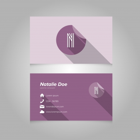 letter n: Simple Business Card Template with Alphabet Letter N - Flat Design - Vector Illustration