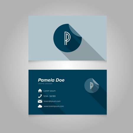 letter p: Simple Business Card Template with Alphabet Letter P - Flat Design - Vector Illustration
