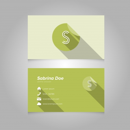 s shape: Simple Business Card Template with Alphabet Letter S - Flat Design - Vector Illustration Illustration