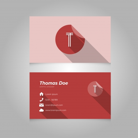 letter t: Simple Business Card Template with Alphabet Letter T - Flat Design - Vector Illustration Illustration