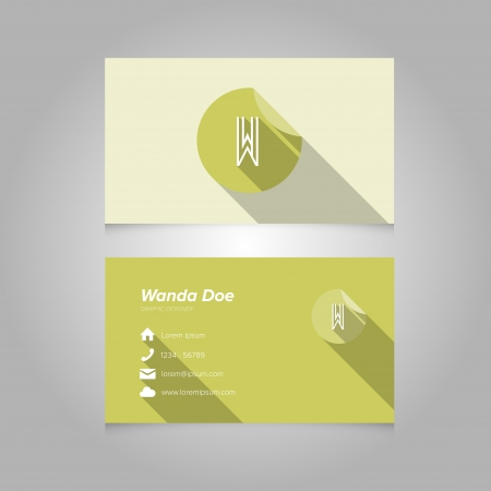 letter w: Simple Business Card Template with Alphabet Letter W - Flat Design - Vector Illustration Illustration