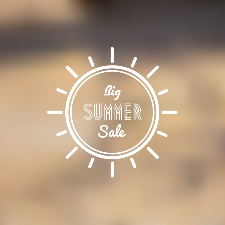 Big Summer Sale Vector Retro Poster with Abstract Blurred Background - Vector Illustration - Flat Design Vector