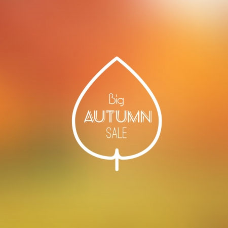 Big Autumn Sale Vector Retro Poster witn Blurred Background - Vector Illustration - Flat Design Vector