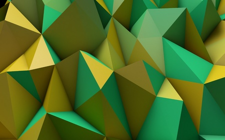 polyhedron: Abstract Yellow and Green Low Poly 3D Background - Polygonal Render