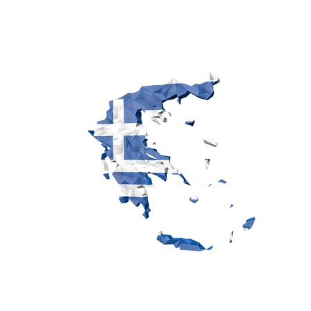 Low Poly Greece Map with National Flag - Infographic Illustration illustration