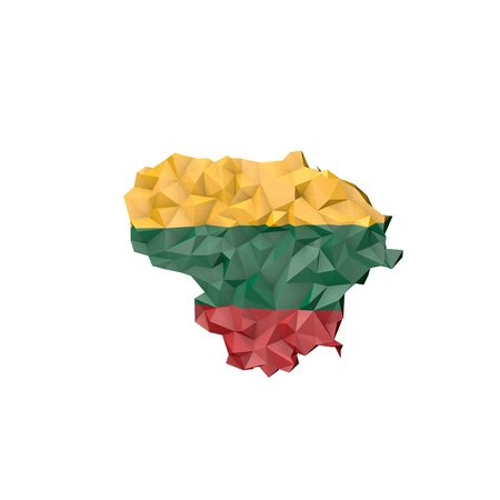 baltic: Low Poly Lithuania Map with National Flag - Infographic Illustration Stock Photo