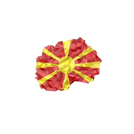 Low Poly Macedonia Map with National Flag - Infographic Illustration illustration