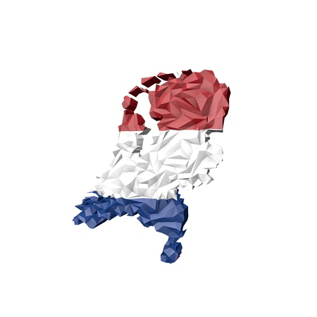 Low Poly Netherlands Map with National Flag - Infographic Illustration illustration