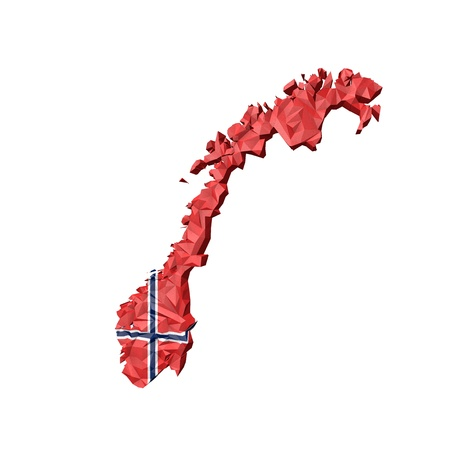 Low Poly Norway Map with National Flag - Infographic Illustration illustration