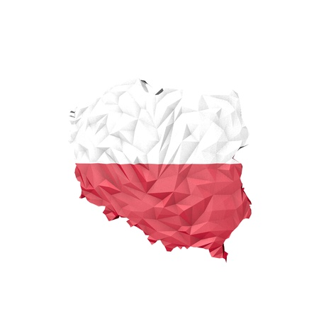Low Poly Poland Map with National Flag - Infographic Illustration illustration