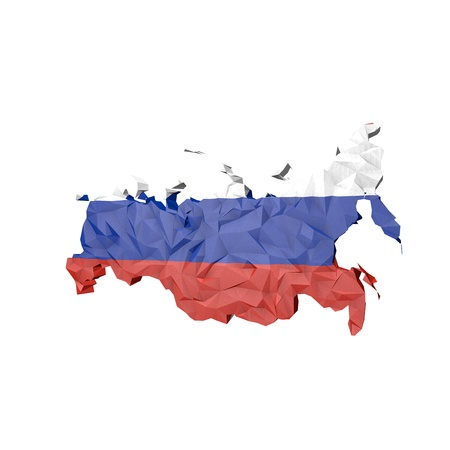 Low Poly Russia Map with National Flag - Infographic Illustration illustration