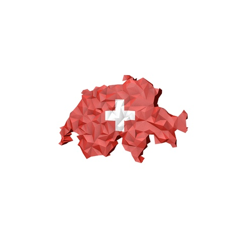 Low Poly Switzerland Map with National Flag - Infographic Illustration illustration