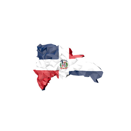 Low Poly Dominican Republic Map with National Flag - Infographic Illustration illustration