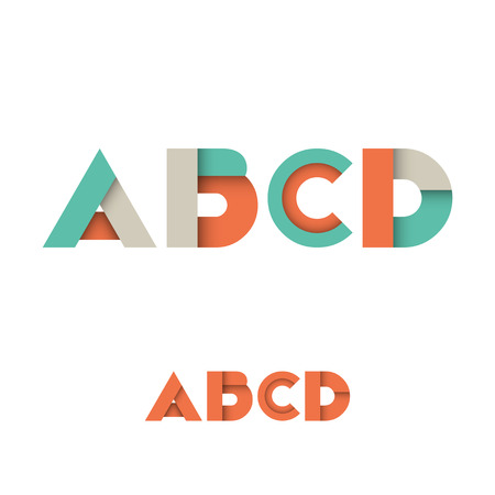 d: A B C D Modern Colored Layered Font or Alphabet - Vector Illustration Illustration