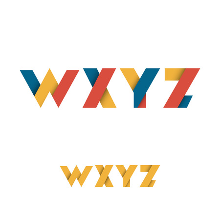 W X Y Z Modern Colored Layered Font or Alphabet - Vector Illustration Illustration