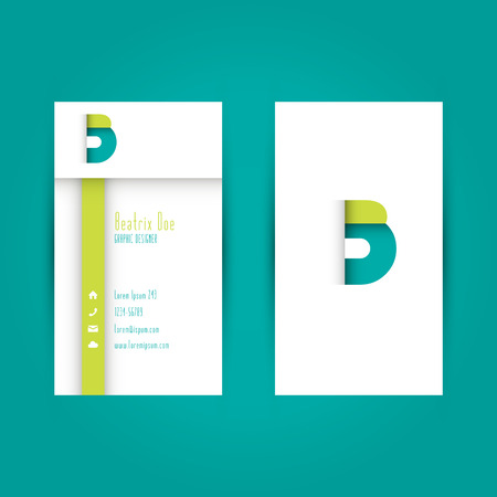 Modern Colorful Business Card Template with Alphabet Letter B Illustration Vector
