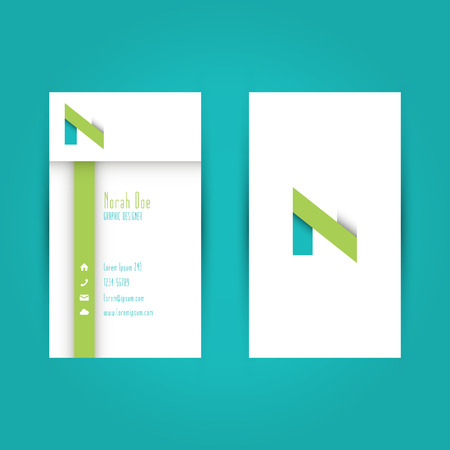 Modern Colorful Business Card Template with Alphabet Letter N Illustration