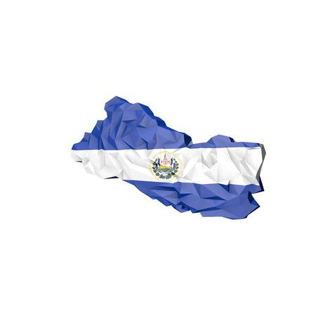 mapa de el salvador: Bajo Poli El Salvador mapa con la bandera nacional - Infograf�a Ilustraci�n