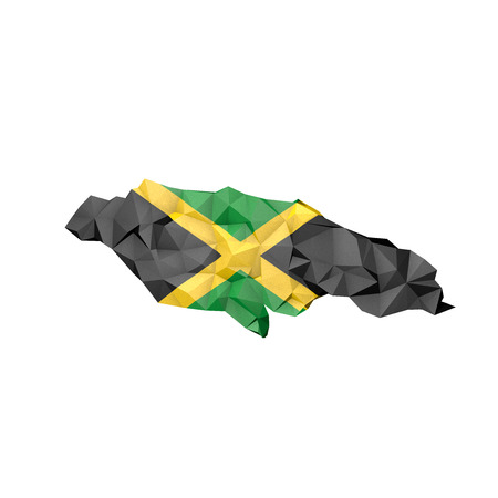 kingston: Low Poly Jamaica Map with National Flag - Infographic Illustration