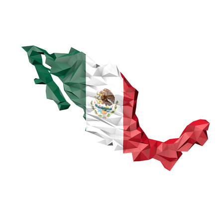 Low Poly Mexico Map with National Flag - Infographic Illustration illustration