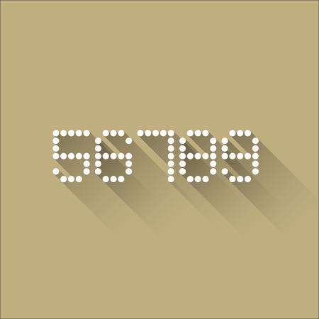 5 6 7 8 9 - Flat Dots Alphabet - Flat Design - Vector Illustration Vector