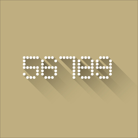 6 7: 5 6 7 8 9 - Flat Dots Alphabet - Flat Design - Vector Illustration