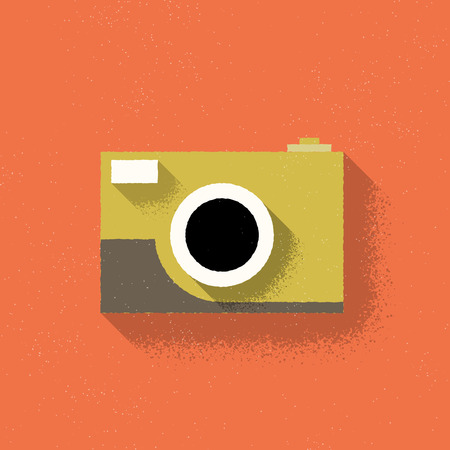 camera film: Analog Rangefinder Film Camera - Flat Design - Vector Illustration