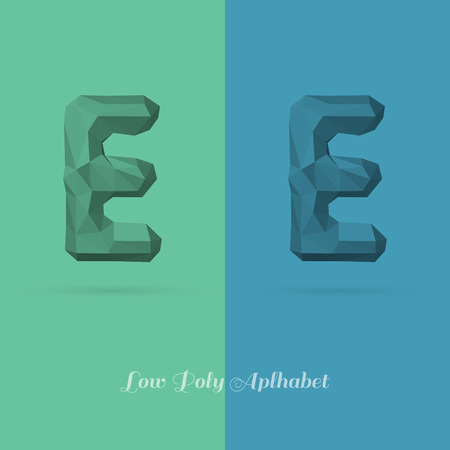 origami numbers: Polygonal Flat Alphabet Letter E - Vector Illustration - Can be Used for Caption or Title