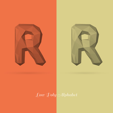 origami numbers: Polygonal Flat Alphabet Letter R