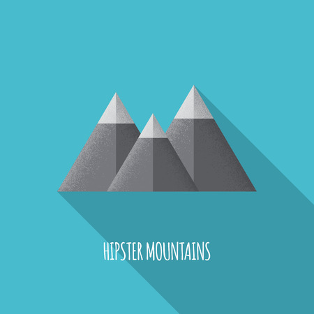 Flat Hipster Mountains Icon - Vector Illustration Vector