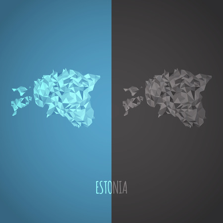 Low Poly Estonia Map with National Colors - Infographic - Vector Illustration Vector