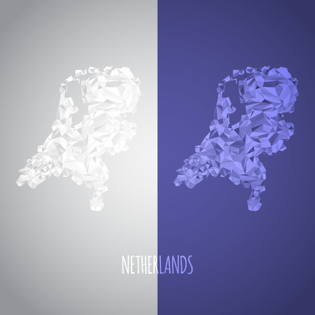 Low Poly Netherlands Map with National Colors  Vector