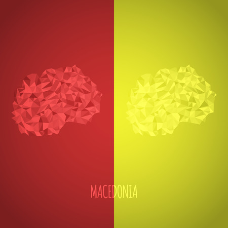 Low Poly Macedonia Map with National Colors  Vector