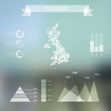 Abstract UK Map with Infographic Elements on Blurred Background  Vector