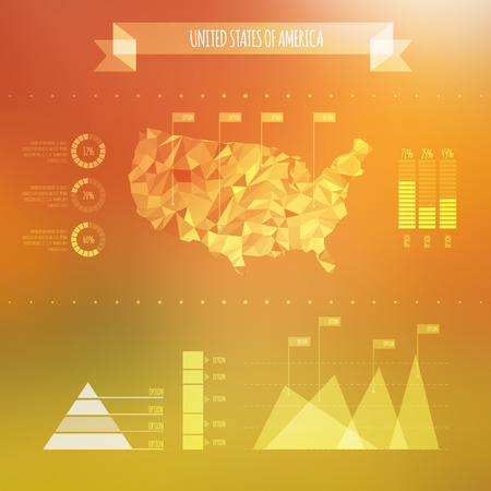 Abstract USA Map with Infographic Elements on Blurred Background  Vector