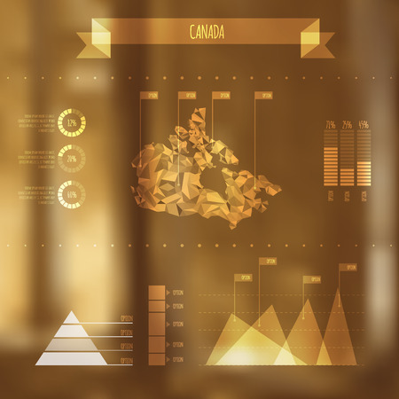 Abstract Canada Map with Infographic Elements on Blurred Background  Vector
