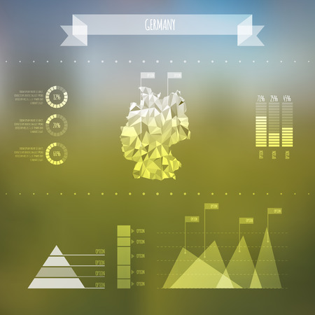Abstract Germany Map with Infographic Elements on Blurred Background  Vector