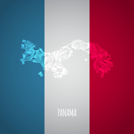 panama flag: Low Poly Panama Map with National Colors - Infographic - Vector Illustration