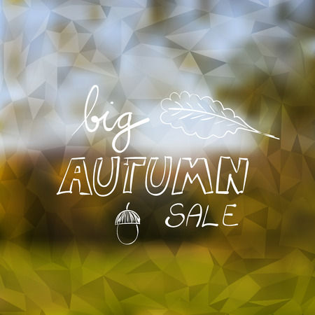 fall colors: Big Autumn Sale Banner on Blurred Triangle Background - Vector Illustration Template