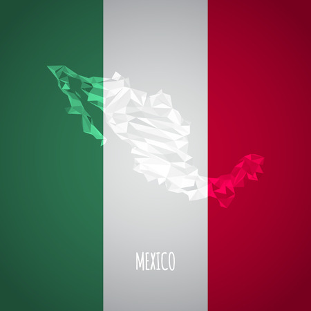 Low Poly Mexico Map with National Colors - Infographic - Vector Illustration Vector