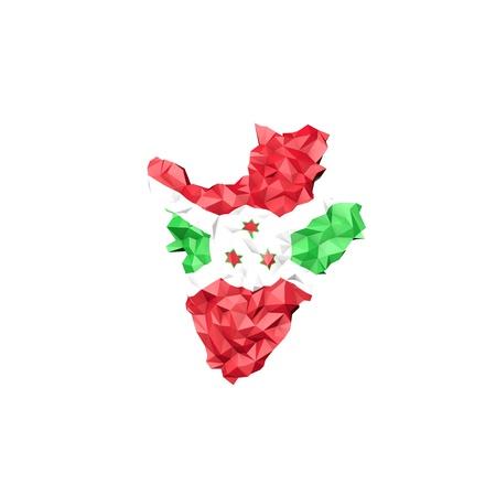 Low Poly Burundi Map with National Flag - Infographic Illustration illustration