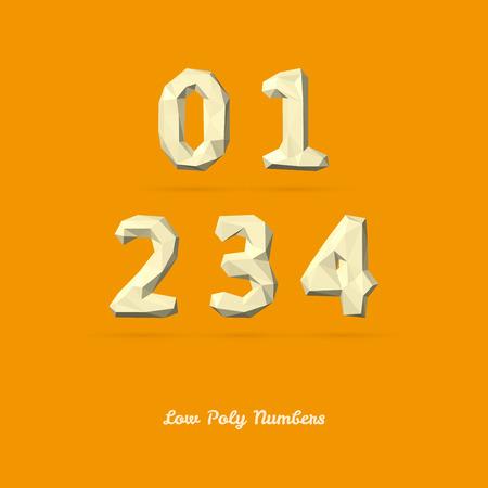 3 4: Low Poly Alphabet Number 0 1 2 3 4 - Vector Illustration Illustration