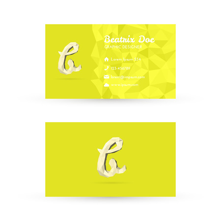 Low Poly Business Card Template with Initials Letter B - Vector Illustration - Self Promo Element Vector